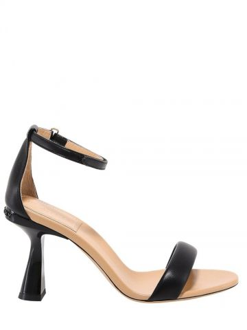 Black smooth leather sandals