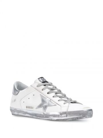 White Superstar sneakers with silver rear