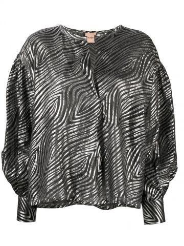 Black and silver zebra-print balloon-sleeves shirt