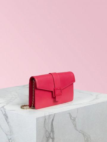 Pochette Viv' Clutch in pelle rosa Fibbia Laccata
