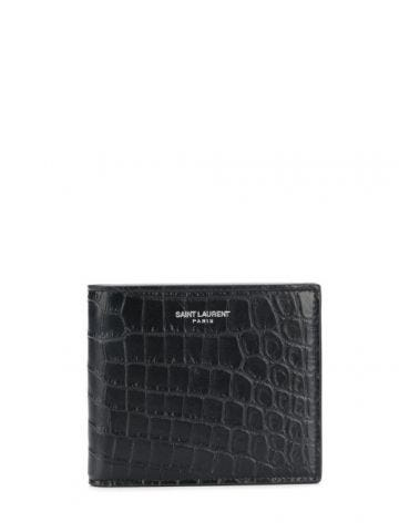 East west wallet in crocodile embossed leather
