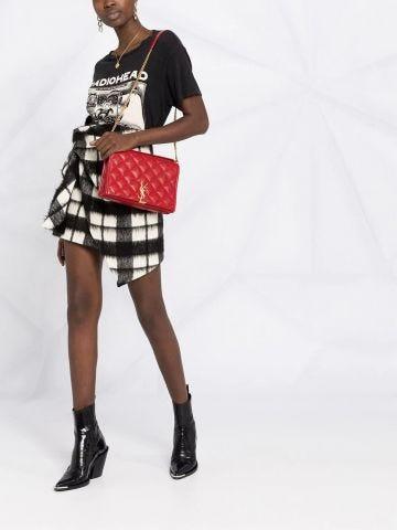Borsa Becky mini con catena in pelle di agnello trapuntata a quadri rossa