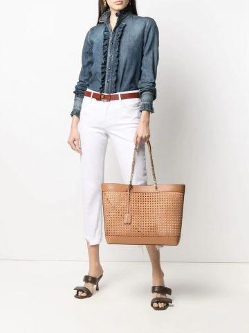 Borsa shopping Saint Laurent E W in pelle e canna intrecciata marrone