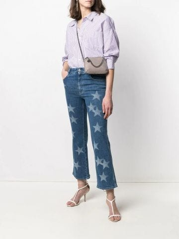 Star print flared cropped jeans