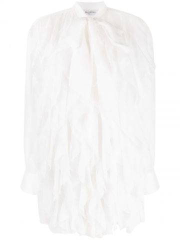 White sheer ruffle-embellished silk blouse