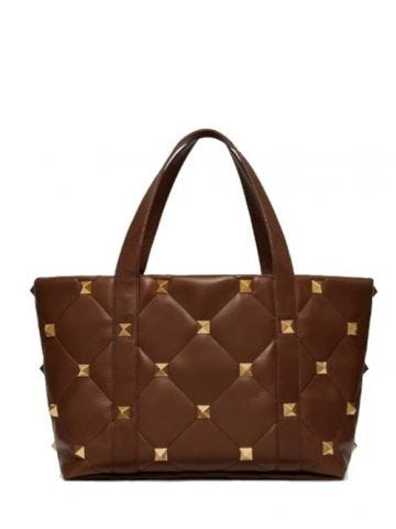 Roman Stud The Tote bag in brown calfskin nappa
