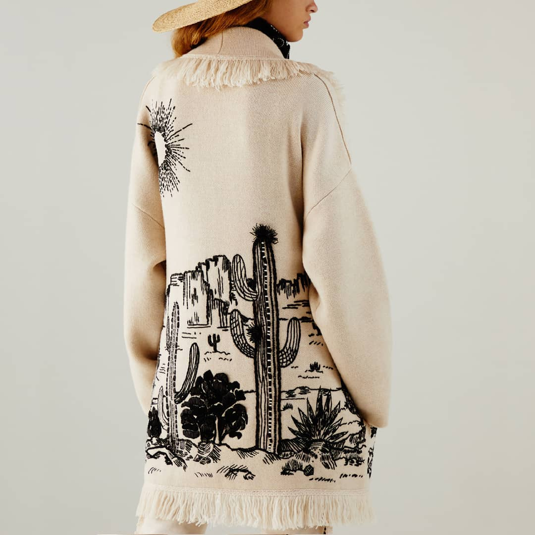 Embroidered landscape @genteroma @alanui   Alanui The Shaded Canyon Cardigan available on genteroma.com and in our boutiques.  #GenteRoma #Alanui #SS21