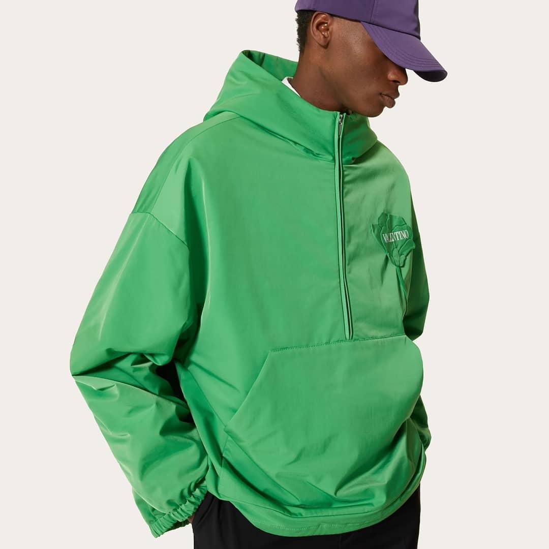 Vibrant green  @genteroma @maisonvalentino   Valentino Garavani Men's Garden nylon pea coat available on genteroma.com and in store at Via del Babuino, 185.  #GenteRoma #ValentinoGaravani #FW21
