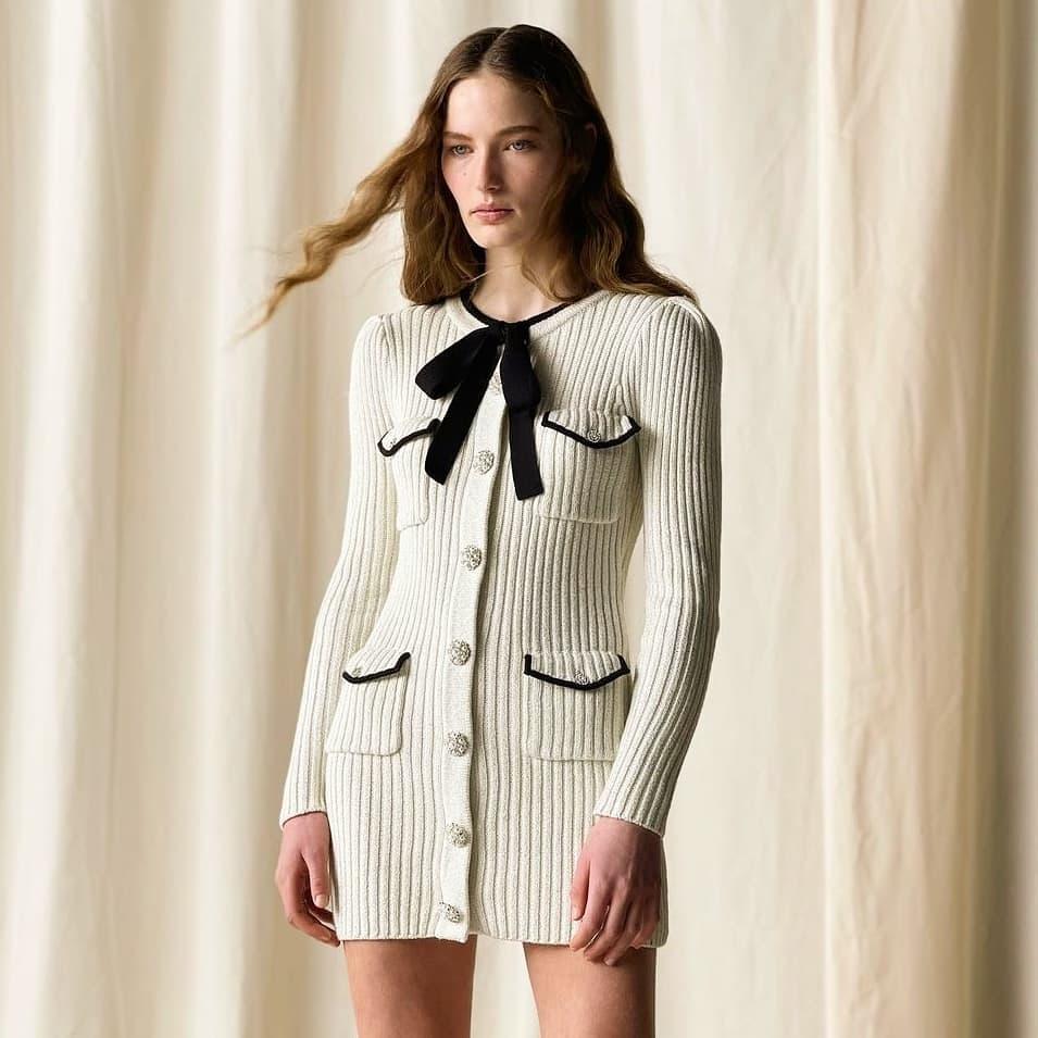 Feminine key @genteroma @mrselfportrait   Self-Portrait knit mini dress available on genteroma.com and in store at Via del Babuino, 77.  #GenteRoma #SelfPortrait #FW21