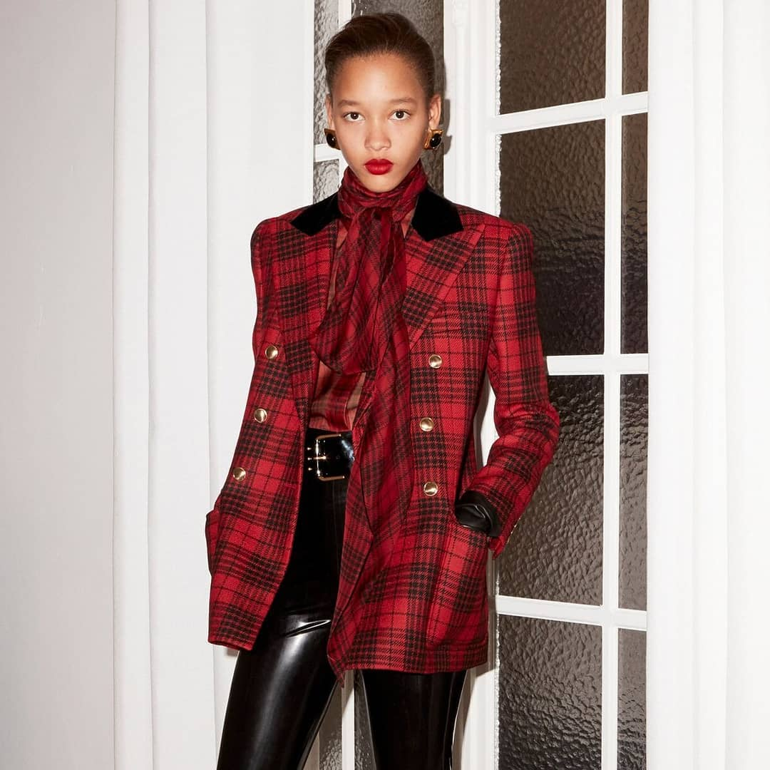'80 inspired  @genteroma @ysl   Saint Laurent double-breasted tartan pattern blazer available on genteroma.com and in our boutiques.  #GenteRoma #SaintLaurent #FW20