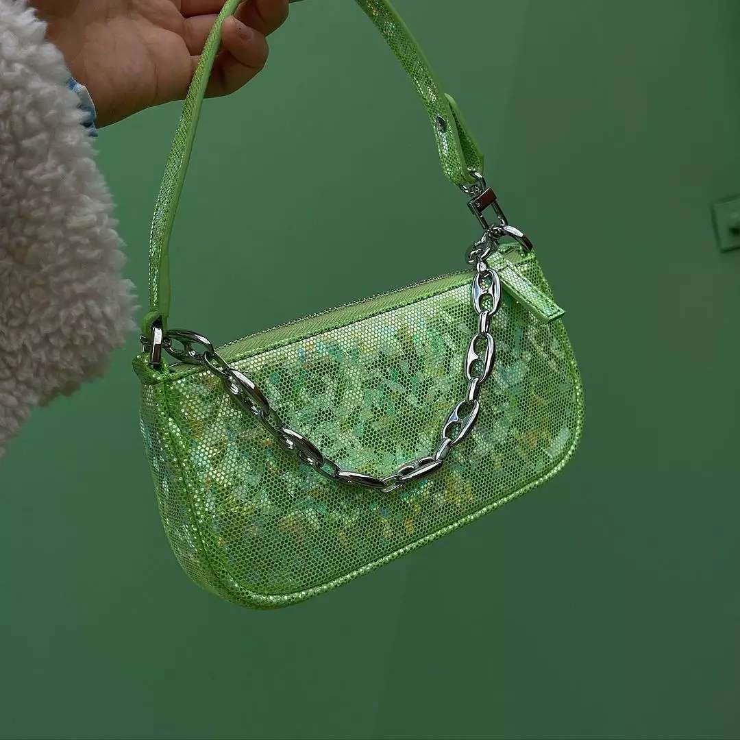 PARADISCO HOLOGRAM:with a vintage inspired chainanda disco green color, the shiny croc mini Rachel bag from @byfar_official is a real party star.  Available on genteroma.com and in store at Via del Babuino, 77.  #GenteRoma #ByFar #FW21